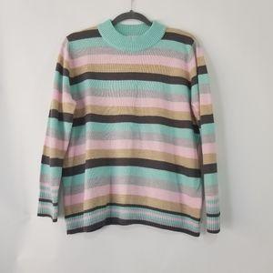 ALIA vintage 90s pastel stripe sweater size large